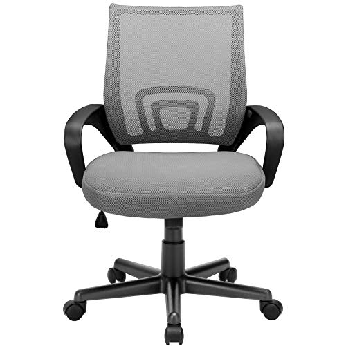 BOSSIN Office Chair Mesh Desk Chair Ergonomic Computer Chair with Lumbar Support Modern Executive Adjustable Chair Rolling Swivel Chairs for Women Men,Black (Grey)