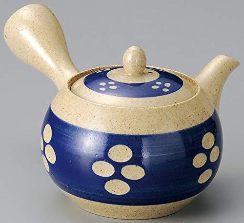 Yamakiikai FY1329 - Tetera Japonesa de cerámica Kyusu con cinturón Azul y Filtro Inoxidable