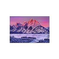 雪の装飾森の風景ポスターアートシルクポスター家の装飾画像リビングルームの壁紙-50x75cmx2フレームなし