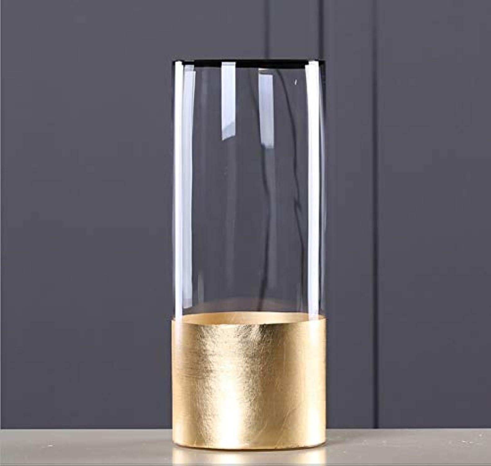 XMDNYE Vase à Fleur en Verre européen avec Feuille d'or Figurines Salon Decor Or Vase de Table Artisanat ménage OrneHommest Cadeaux de Mariage