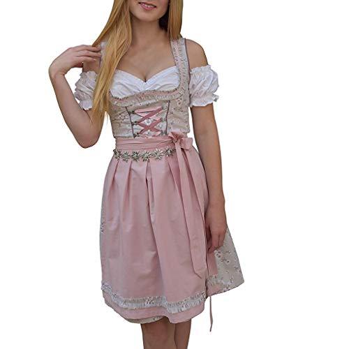 Skxinn Oktoberfest Cosplay Kleidung/Damen Midi Trachten-Kleid Oktoberfest,Vintage Trachten(Rosa,Large)