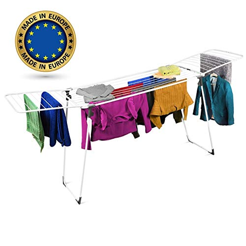 Bartnelli Heavy Duty Cloths Drying Rack for Laundry |Space Savings, Foldable, Gullwing, Large Stainless Steel Racks | for Indoor - Outdoor Use (L-86 W-21 H-35)