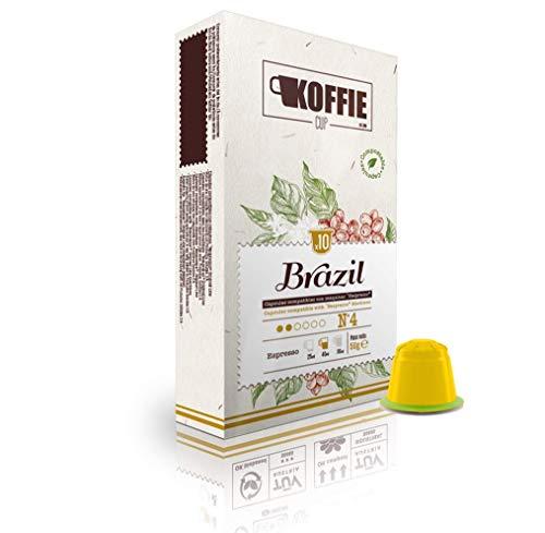Koffie Cup Brazil 40 Cápsulas compostables de café compatibles con máquinas Nespresso original line. Receta Brazil. Total 40 cápsulas (4x10cáps) koffiecup