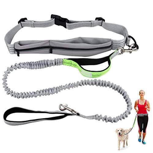 Cadrim Hunde Joggingleine mit verstellbarem Hüftgurt Bungee Leine zum handfreien Laufen/Fahrrad Fahren(Grün)
