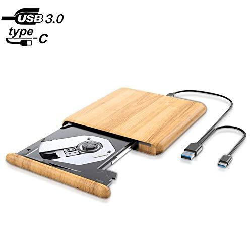SNY External DVD Drive for Laptop,USB 3.0 Type C Portable CD/DVD +/- RW Disc Drive Burner,Compatible with Desktop Laptops Win XP/Win 7/Win 8/MAC OS/Win Vista