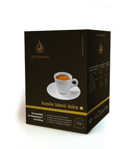 Gourmesso Brasile Blend Dolce - 10 Nespresso kompatible Kaffeekapseln - Fairtrade