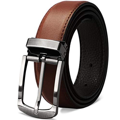 NEWHEY Cinturon Hombre Cuero Cinturones Piel Cinturón Hombre Jeans 32mm 115cm Rojo-Marrón