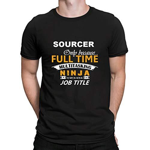 Sourcer, Ninja Job Title, Herren T-Shirt Kurzarmshirt Casual Basic O-Neck t Shirt, Schwarz