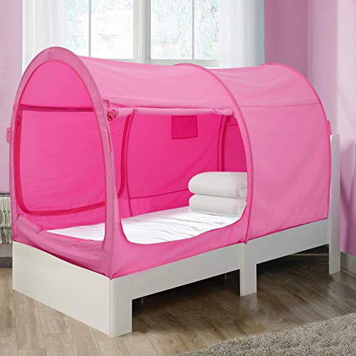 Alvantor Bed Canopy Bed Tents Dream Tents Privacy Space Twin Size Sleeping Tents Indoor Pop Up Portable Frame Curtains Breathable Pink Cottage (Mattress Not Included) Reducing Light