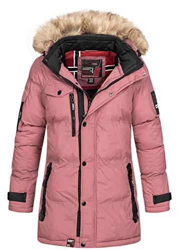 Geographical Norway - Chaqueta de invierno acolchada para mujer, para exterior, transpirable, resistente al viento, impermeable, con capucha desmontable rosa XL