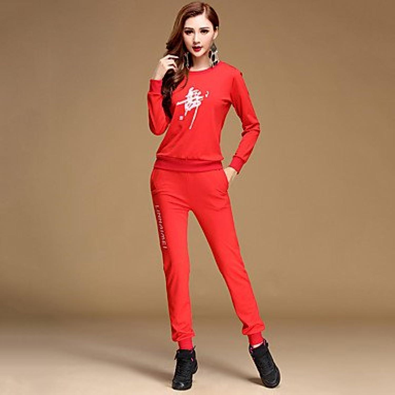 Latin Dance Outfits Women's Training Milk Fiber Pattern Print 2 Pieces Black Light Red Long Sleeve Top Pants, 5xl