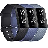 Pack 3 Silicone Bands for Fitbit Charge 4 / Fitbit Charge 3 / Charge 3 SE Replacement Wristbands for Women Men Small Large(Without Tracker) (Large: for 7.1'-8.7' Wrists, Black+Navy Blue+Slate Grey)