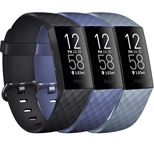 """Pack 3 Silicone Bands for Fitbit Charge 4 / Fitbit Charge 3 / Charge 3 SE Replacement Wristbands for Women Men Small Large(Without Tracker) (Large: for 7.1""""-8.7"""" Wrists, Black+Navy Blue+Slate Grey)"""