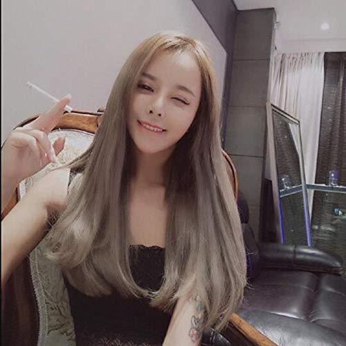 Peluca de pelo largo y liso en el flequillo flor de pera ebay-Negro