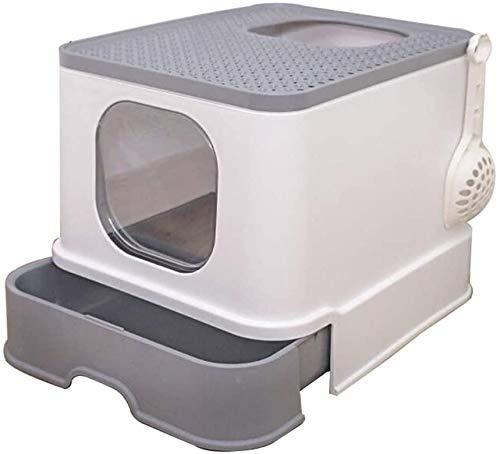 ZouYongKang Caja de Arena con Capucha automática de autolimpieza con Capucha - Ultra, cajón Cerrado Prevención de derrame de derrame de Cuenca Cerrada de Gato Desodorante Gris/Azul de hasta 10 kg Lo