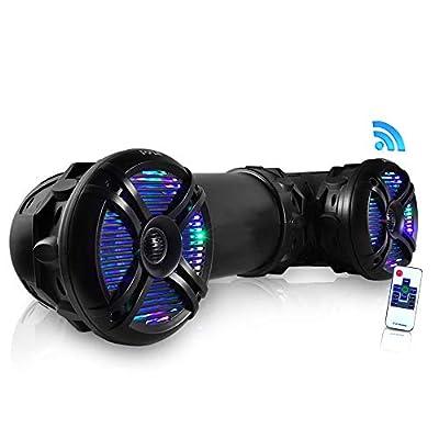 "Pyle Marine ATV Powered Speakers - 4.0 Wireless Bluetooth, 800 Watt, Color Changing LED Lights, IP44 Waterproof, 6.5"" Dual Audio Sound System for UTV, Golf Carts, Jetski and Snowmobile - PLATV65BT.5"