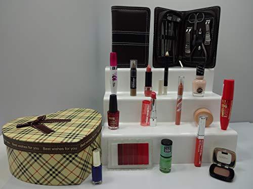 Luxe 10pc Make Up + 11pc de manucure Beauté Boîte cadeau Ensemble cadeau Mix marques ~ l'oréal – Cover Girl – Max Factor – Maybelline – Laval – Rimmel – Miss Sporty ~ Boîte cadeau