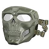 HUNTVP táctica Máscara Skull Protectora Máscara Militar Paintball para Hombres Paintball Airsoft CS Cosplay Halloween, Tipo 1 Verde