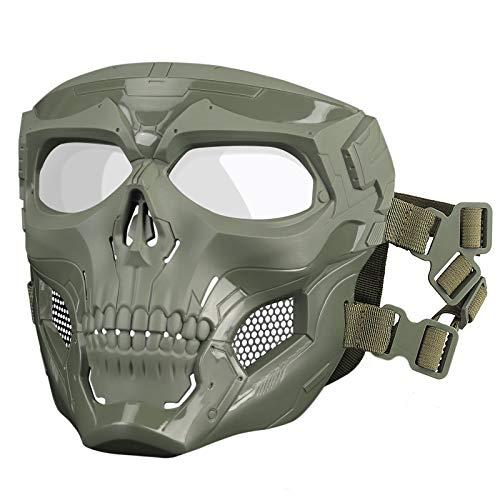 Huntvp Taktische Maske Schädelmaske Militär Schutzmaske Herren Gesichtsmaske Tactical Mask fürCS Cosplay HalloweenOutdoor, Typ-1 Grün