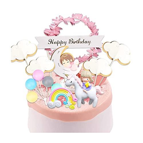 AYQNMHR Kit de decoración para tarta de unicornio, nube, arcoíris, globo de feliz cumpleaños, banderín, decoración de tarta para niña, cumpleaños del cabrito