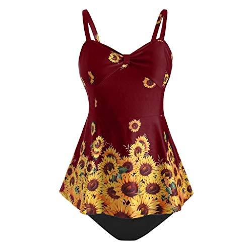 COZOCO Heisse Verkaufende UnterwäSche-Frauen Plus GröSsen-Beachwear-Sonnenblume Druckten Den Badeanzug, Der Badebekleidung Wellen-Umrandete Aufgeteilte Schwimmen-Oberseite Abnimmt