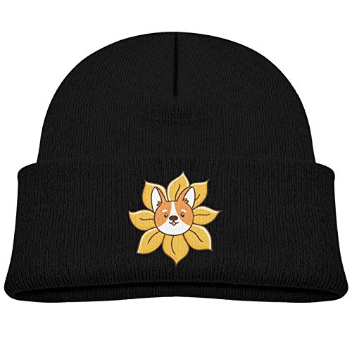 Child Knitted hat Welsh Corgi Dog Peeks Out of A Sunflower,Kids Winter Knit Hat Warm Fleece Lined Hats Children Cable Baby Beanie Skull Cap for Girls and Boys/Black