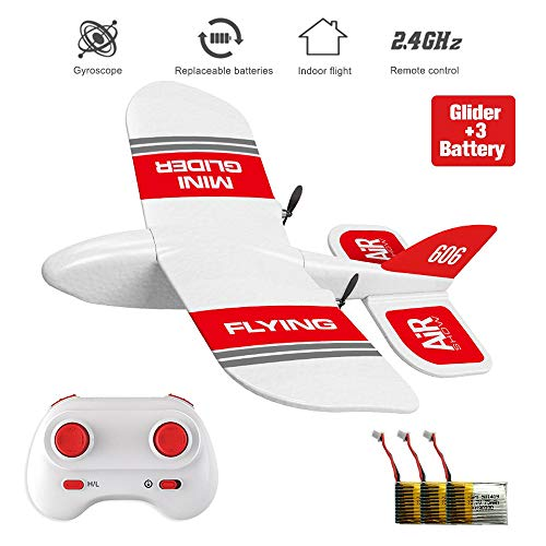 XFUNY KF606 2.4Ghz RC Airplane Mini Indoor Flying Aircraft EPP Foam Glider Toy Airplane Built-in Gyro RTF Remote Control Toys Kids Gifts (KF606+3 Battery)