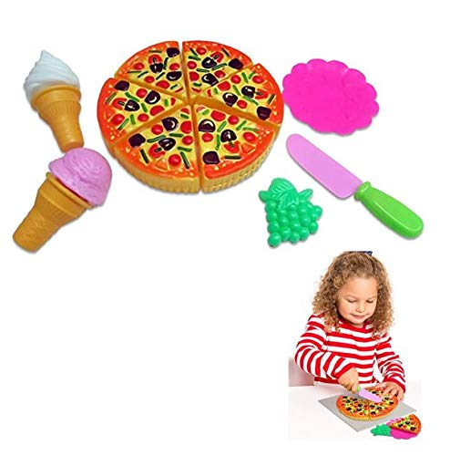 Dazzling Toys Pizza Party Food Set 11 Piece Pretend Play Food Cooking Pack for Kids Christmas Toy Connect and Cut Pizza Pie with Accessories
