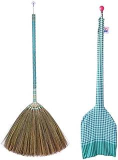 SN SKENNOVA - Asian Broom Thai Pattern Vintage Retro Natural Grass Broom Handmade (Blue)