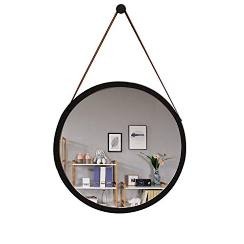 Miroirs muraux ronds pour salon, cheminée, salle de bain, maquillage, miroir mural (noir, 45 x 45 cm)