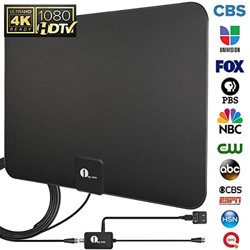 [Upgraded 2019] 1byone Digital Amplified Indoor HD TV Antenna Up to 80 Miles Range, Amplifier Signal Booster Support 4K 1080P UHF VHF Freeview HDTV Channels, 10ft Coax Cable