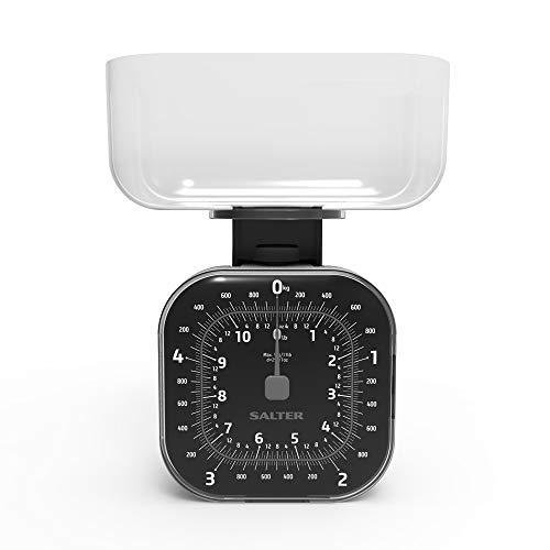 Balance Mécanique Premium 5kg Salter – Style Retro Horloge Affichage Grand et Facile à Lire, Bol passe au Lave-Vaisselle 1,3L, Rangement Compact, Mesure Métrique/Impériale, Pointeur Précision – Noire