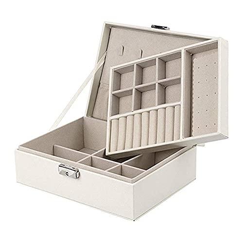 POMNEFE Joyero, caja de almacenamiento de joyas para mujer, caja de almacenamiento de joyas de cuero, caja de joyería de diseño simple, caja de joyería portátil