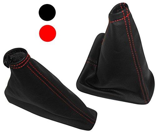AERZETIX - Satz schaltsack + handbremssack - 100% leder - farbe schwarze leder - rote nähten - für auto