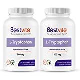 L-Tryptophan 500mg per Capsule (240 Vegetarian Capsules) (2-Pack) - No Stearates - No Silica - No Gelatin - Vegan - Gluten Free - Non GMO