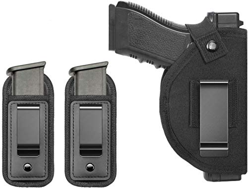 TACwolf 3 Pack Gun Holster Magazine Pouch Right Left IWB OWB for Hand Inside Concealed Carry Holster for Single Double Stack Mags S&W M&P Shield Glock Springfield Ruger Taurus PT111 G2 Sig Sauer