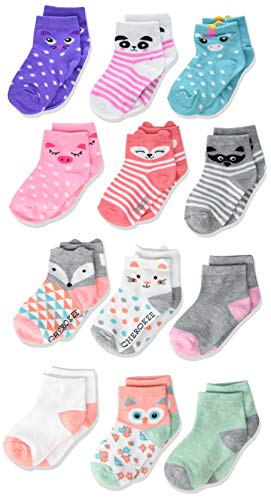 Cherokee Girls' 12 Pack Shorty Socks, multi pop up Critters, 12-24 Months