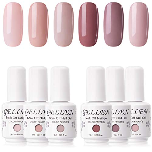 Gellen Gel Nail Polish Kit - 6 Colors Classic Nudes Series Natural Skin Tone, Trendy Pigmented Daily Nail Gel Shades Nail Art DIY Home Gel Manicure Set