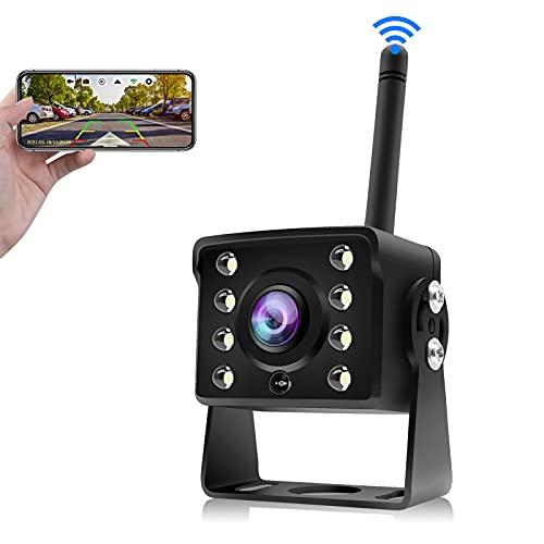 URVOLAX Telecamera Retromarcia WIFI, Wireless Telecamera Posteriore per Auto, Video Registrazione, 170° l'Angolo di Vista Largo, IP68 Impermeabile, Visione Notturna per Camper Camion