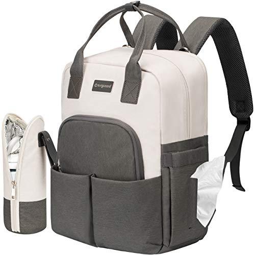 COSYLAND Zaino Mamma Multifunzione con Tasca per Laptop Borsa Fasciatoio Impermeabile da Viaggio, Tasche Multiple di Grande Capacità, Cinturini per Passeggino Isolati (Grigio+Bianco)