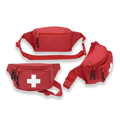 3pk ASA Techmed First Aid Waist Pack - Baywatch Lifeguard Fanny Pack - Compact for Emergency at Home, Car, Outdoors, Hiking, Playground, Pool, Camping, Workplace