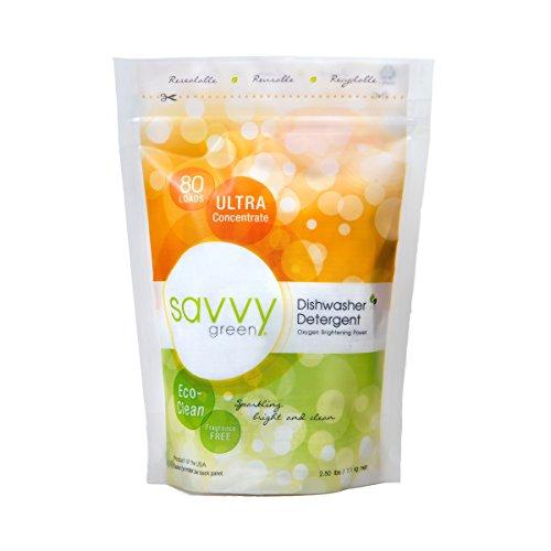 Savvy Green 80 Load Eco Clean Dishwasher Detergent Powder, 2.5 Pound
