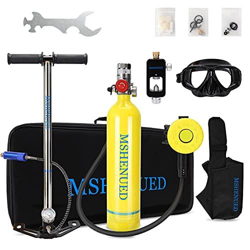 MSHENUED Equipo de Oxígeno para Bucear, Mini Botella de Buceo de 1 litro con Capacidad de 15-20 Minutos, con Bomba Respiración Bajo El Agua del Dispositivo con diseño Recargable