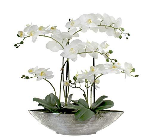 DARO DEKO Kunst-Pflanze Orchidee Schiffchen Topf Silber glänzend und weiße Blüten 60cm hoch