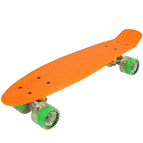 57cm Mini Cruiser board Retro Skateboard mit LED Leuchtrollen und Aluminium Trucks ABEC-7 Classics