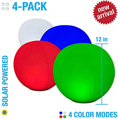 4-PK Floating Pool Lights, 12 Globes, 4 Color Settings, Solar LED Balls, Inflatable, Waterproof, Floatable, Hangable, Night Mood Lights-Sphere Decorations-Pools-Backyard-Lawn-Pathways-Parties-Events