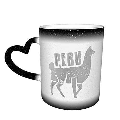 maichengxuan Taza de café unisex de viaje Perú Alpaca personalizada sensible al calor color cambiante taza taza de té de leche tazas de café mágicas