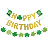 St. Patrick's Day Happy Birthday Banner + Shamrock Clover Banner for St Patricks Day Birthday Decorations, St Patrick Decorations Irish Party Home Outdoor Supplies Decor (Gold and Green Glittery)