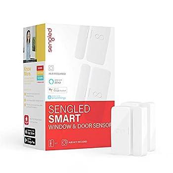 Sengled E1D-G73 Smart Window & Door Hub Required Compatible with Alexa Door Sensor 2 Pack Door & Window White 2 Count