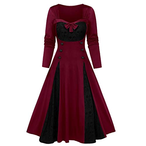 LILICAT Damen 1950er Vintage Cocktailkleid Rockabilly Faltenrock Spitzenkleid Langarm Kleid Elegant Brautjungfernkleid Abendkleider Midikleid Gothic Retro Kleid Bowknot Kleid